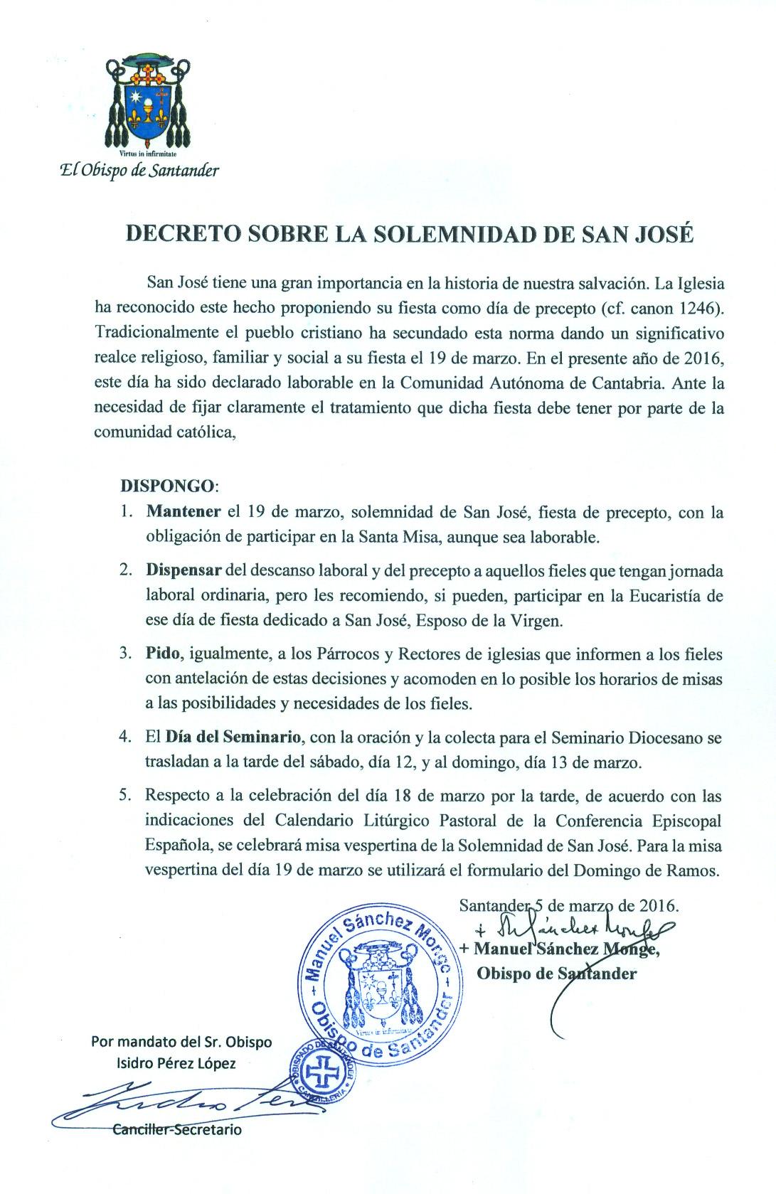 Decreto Solemnidad de San José